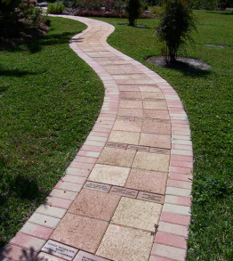 EBF Walkway Serpentine Red Hollandstone and 12x12 8.31.15 wee